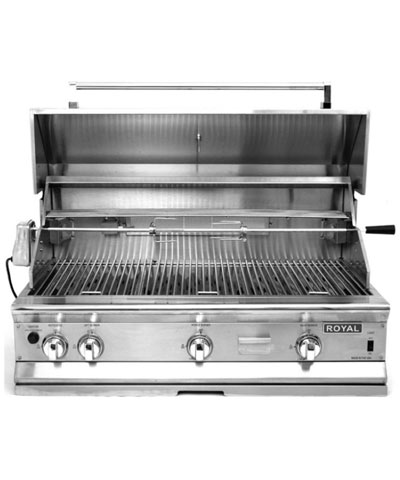 Royal Outdoor Grill, 42 inch wide, Stainless Steel, Smoker Box