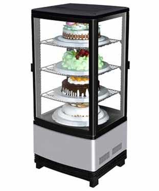Refrigerated Display Case, 4 sided glass, with Pass Thru Doors