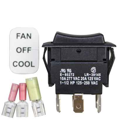 Switch, rocker switch with FAN-OFF-COOL settings