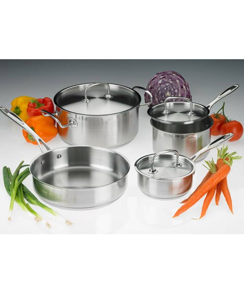 7 Piece Professional Cookware Set, Stainless Steel