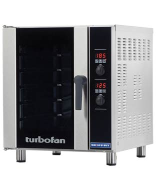 E33D5 TurboFan Oven, half-size, 5-tray, Digital Display (240V)