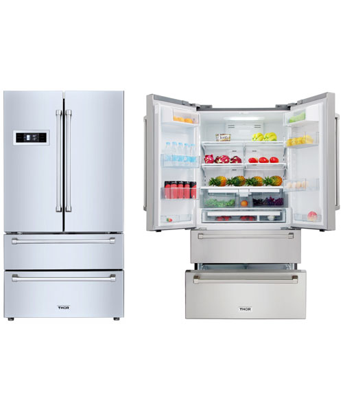 THOR Refrigerator with 2 Drawer Freezer, French Doors