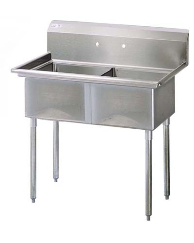 Two Compartment Sink, S/S, No Drain Boards