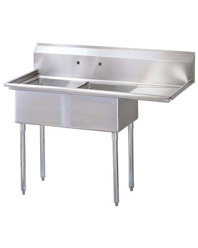 Two Compartment Sink, S/S, Drain Board Right