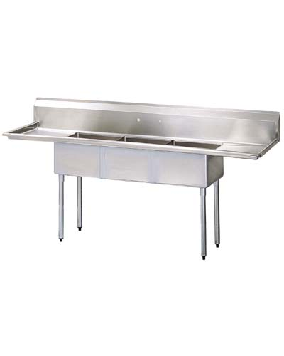 Three Compartment Sink, S/S, Drain Boards right and left