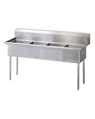 Four Compartment Sink, S/S, No Drain Boards