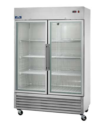 Refrigerator with Glass Doors: 2 Door Reach-In