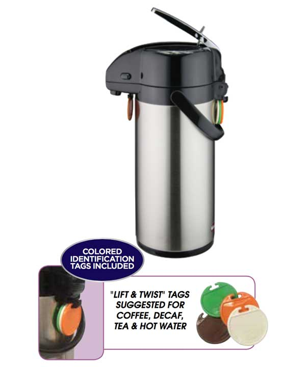 Airpot 2.5 Liter - Lever Top - Stainless, Stainles Liner, tags