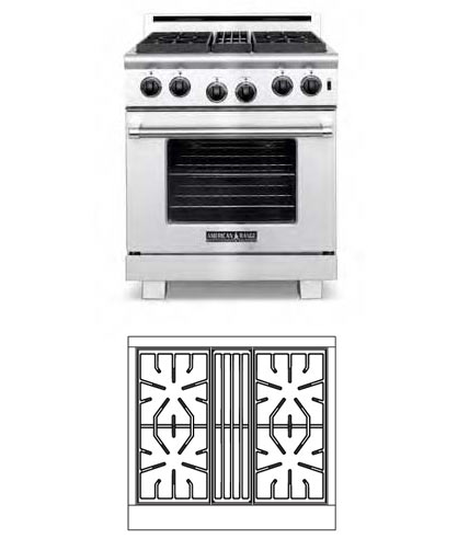 30 inch Residential Stove, 4 burners (LP Gas)