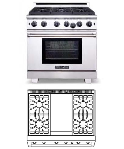 Cuisine Series, 36 inch, 4 burners, griddle (LP Gas)