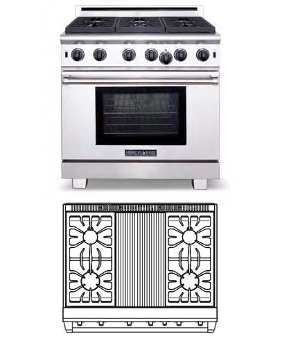 Cuisine Series, 36 inch, 4 burners, charbroiler