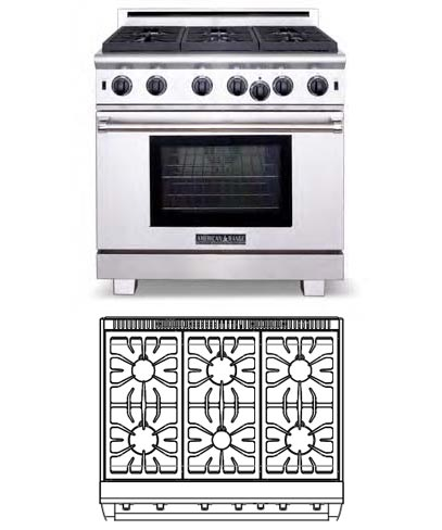 Cuisine Series, 36 inch, 6 burners (LP gas)