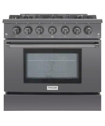 THOR 36 inch Professional Gas Range with 6 burners, Black, (LP)