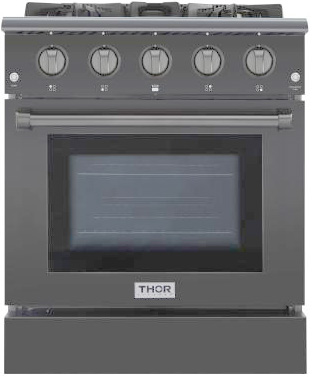 THOR 30 inch Professional Gas Range with 4 burners, Black (LP)
