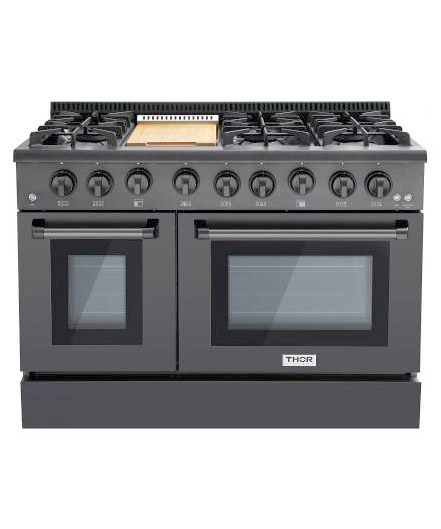THOR 48 inch Professional Gas Range with Griddle, Black (LP)