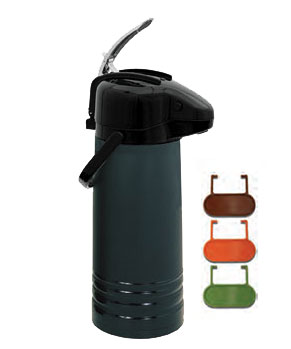 Airpot 2.2 Liter, Lever Top, Glass Lined, Black, color coded tag