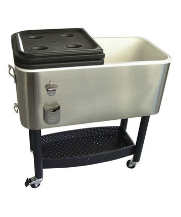 Portable Stainless Steel Cooler with casters and under shelf