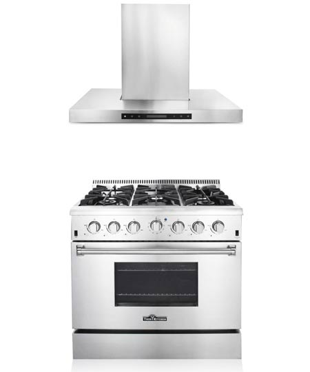 THOR Kitchen Suite 36 inch Professional Gas Range with Hood