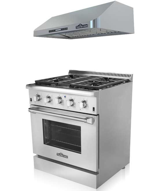 THOR Kitchen Suite 30 inch Professional Gas Range with Hood