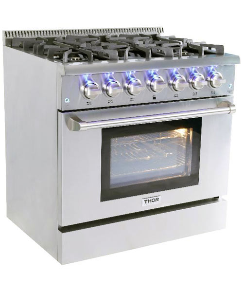 THOR 36 inch Professional Gas Range with 6 burners (Natural Gas)