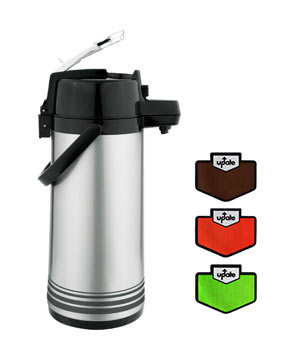 Airpot 2.5 Liter S/S, Lever Top, Glass Lined, Regular or Decaf.