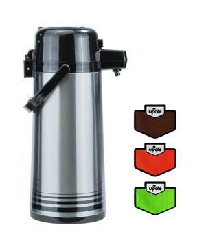 Airpot 2.5 Liter S/S, Push Top, Glass Lined, Regular or Decaf.