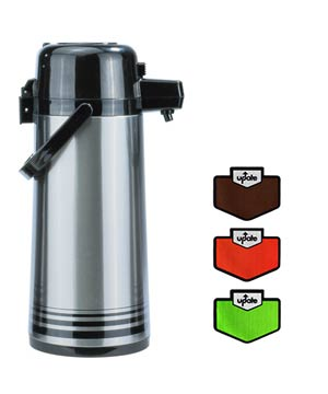 Airpot 2.5 Liter S/S, Push Top, Stainless Lined, Regular/Decaf