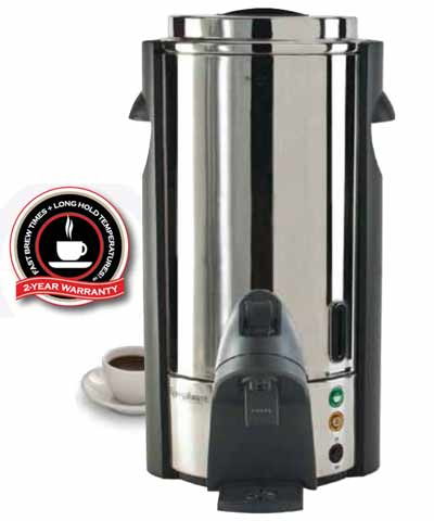Coffee Urn, 100 cup, Stainless Steel, 120 volts