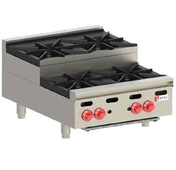 Wolf Hotplate, Step Up model, 4 burner, Natural Gas