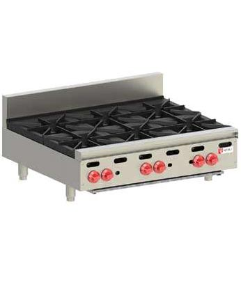 Wolf Hotplate, Countertop, 6 burner, Natural Gas